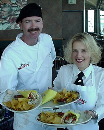 John and Sue presenting our food at Anthony's At Point Defiance.