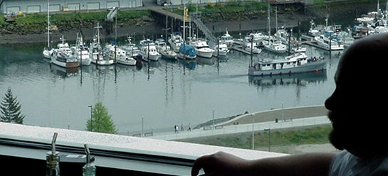 Altezzo Chef James P. Barbara and the view of the Thea Foss Waterway.