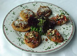 Plate of bruschetta.