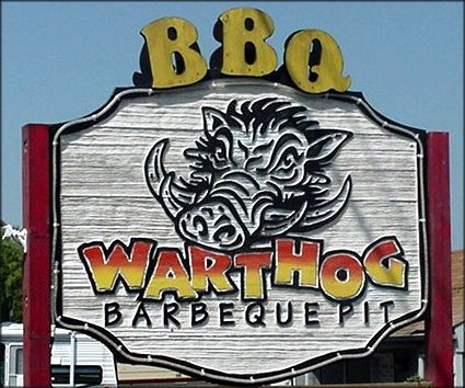 Warthog Barbeque Pit sign in Fife.