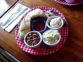 Excellent barbeque food at the Warthog.